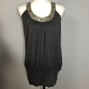 Romeo & Juliet Couture Gray Tank Top Beaded